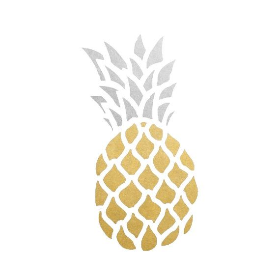 Pineapple set of 10 premium waterproof metallic gold & silver tropical temporary tattoos from Flash