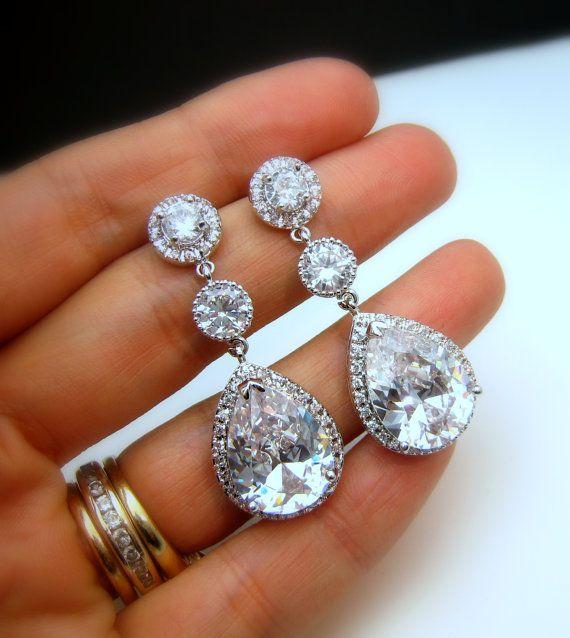 CLIP ONS Bridal earrings wedding earrings bridal by DesignByKara, $59.00