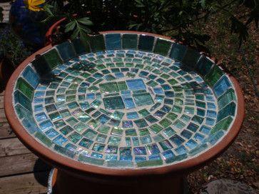 Sea Glass And Terra Cotta Bird Baths And Feeders By Necegirl eclectic bird baths
