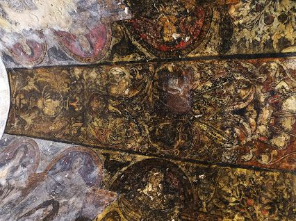 Frescoes on the ceiling of the Umayyad desert castle (Qasr Amra) depicting the work of the grape harvest. The castle was probably built by Walid II or Yazid III before 744 AD which surprisingly shows extravaganze and sybaritic life in the area during Umayyad period.