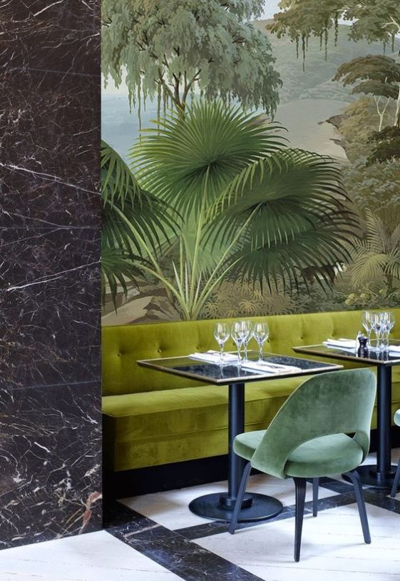 Greenery | PANTONE Color of the Year 2017 | Selected by La Chaise Bleue (lachaisebleue.com) | RESTAURANT MONSIEUR BLEU - PALAIS DE TOKYO (PARIS) by Joseph Dirand