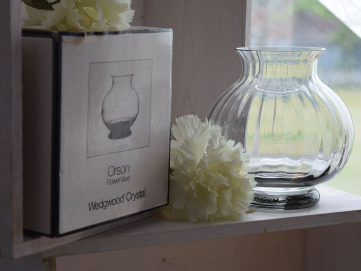 """Vintage Wedgwood, Small Crystal Chinese """"Orson"""" Smoked Grey, Midnight Optic Glass, Flower Vase, wedding gift, anniversary gift, boxed…"""
