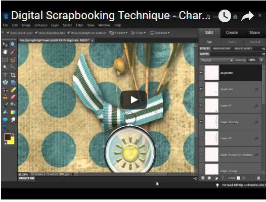 Pinching a Ribbon to Go Through Charm (Digital Scrapbooking Tutorial)
