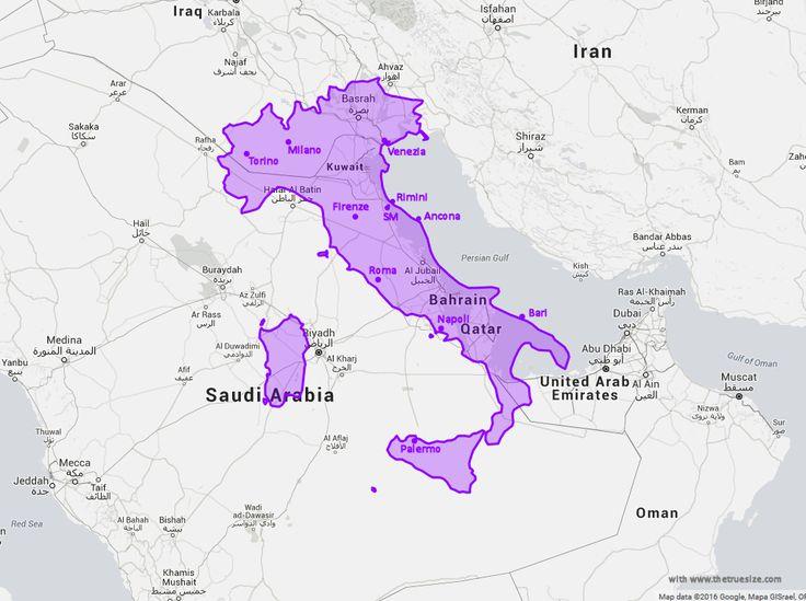 Map comparison size of Italia and Arabo-persian Gulf ( Iraq Kuwaït Qatar UAE Dubaï Saudi) with cities - Carte Comparaison de la taille de l' Italie et du Golf Arabo-persique ( Irak Koweït Qatar EAU Dubaï Saoudite ) - avec villes
