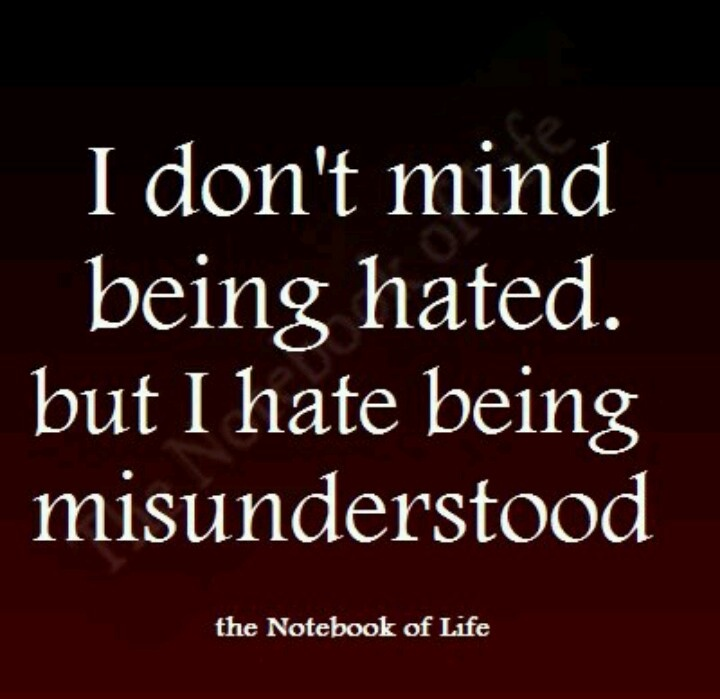 Misunderstanding Friends Quotes: I Don't Mind Being Hated. But I Hate Being Misunderstood