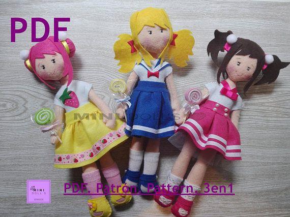 Patrones de descarga inmediata en formato Pdf para realizar tú mism@ esta muñecas de colección estilo kawaii.  Están hechas en fieltro. Una vez terminadas miden 32cm.  La descarga incluye LAS TRES MUÑECAS:  *Patrónes del cuerpo básico para las tres muñecas. *Patrones de la ropa, pelo y complementos de las tres uñecas.  Són de elavoración fácil. Puedes ver el tutorial para relizarlas en el canal de You tube de Mini Dolls: https://youtu.be/uAZ835Nm9UA  Para cualquier duda o probl...