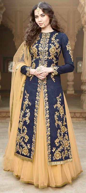 199449 Blue color family Long Lehenga Choli in Bhagalpuri,Silk fabric with Lace,Machine Embroidery,Thread,Zari work .
