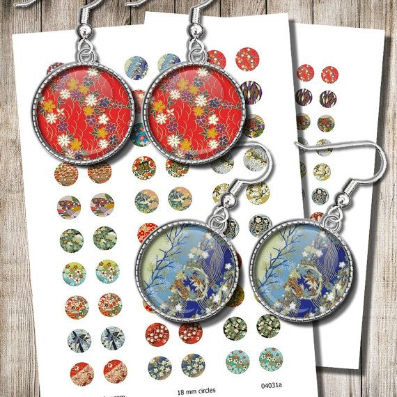 Japanese Jewelry Images Digital Collage Sheet 12 mm 15 mm