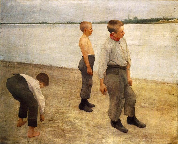 Ferenczy, Karoly (1862-1917) - 1890 Boys Throwing Pebbles into the River (Hungarian National Gallery, Budapest)