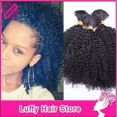 tree braids with curly kinky hair | Curly Human Hair Braids Human Hair For Braiding