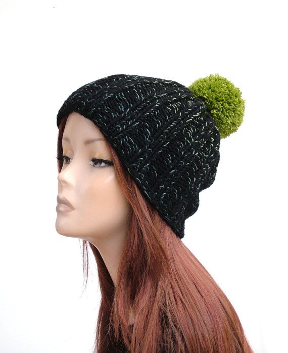 Chunky winter hat, black and ombre green hand knit pom pom beanie by Rukkola on Etsy. #pompomhat #winterhat #handknithat