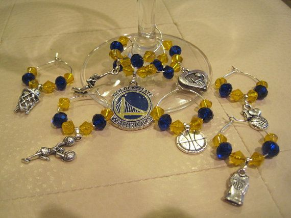Golden State Warriors Basketball Wine Charms Set of by BeadiTique