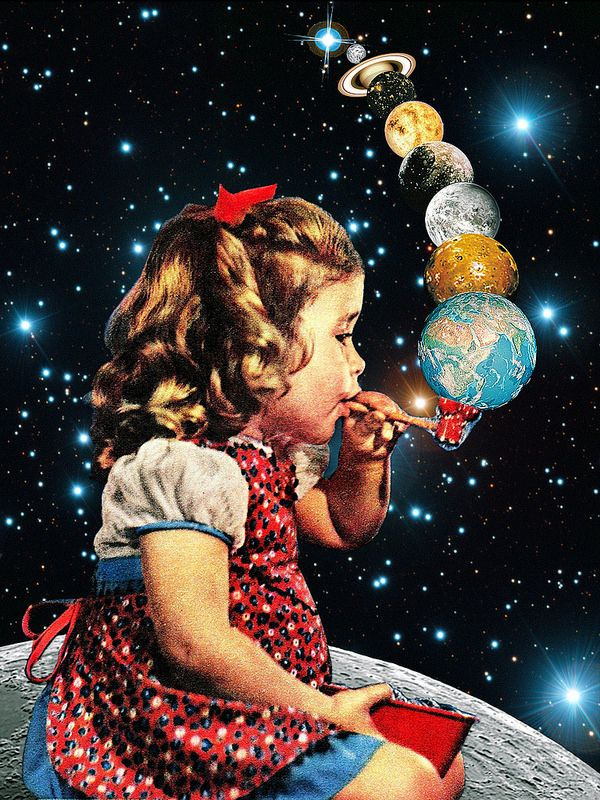 Maker...kitsch,cute and whimsical print of a girl blowing planets like bubbles from a pipe to create the solar system surreal but simple