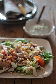 As Minhas Receitas: Salada de Pêssego com Frango e Molho de Queijo Azul
