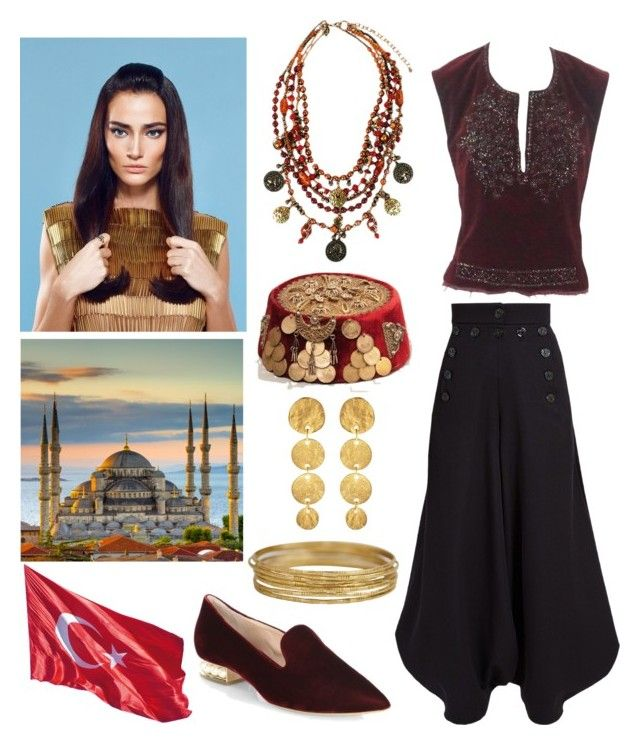 """Ottoman Inspired Outfit"" by hellenrose7292 on Polyvore featuring Dries Van Noten, Chloé, Treska, Kenneth Jay Lane and Nicholas Kirkwood"