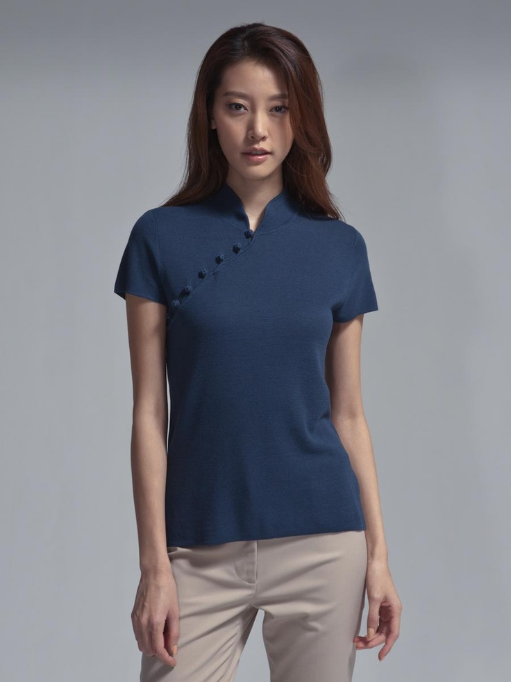 Silk blend Qipao top with satin buttons By Shanghai Tang