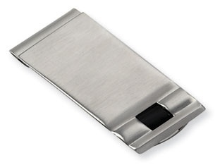 Men's Stainless Steel Black Enamel Money Clip Holder Available Exclusively at Gemologica.com