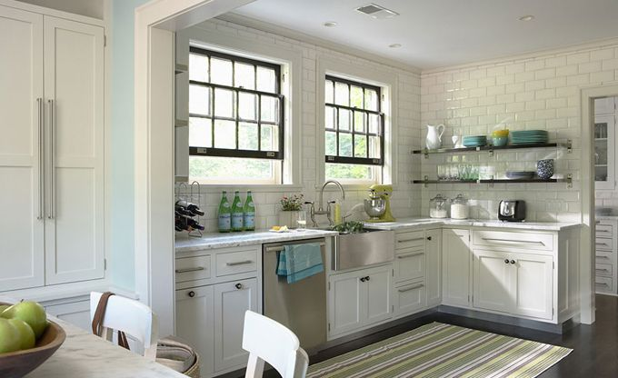 subway tiles completely covering kitchen walls