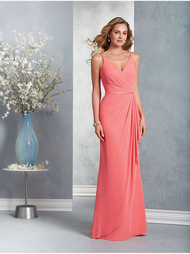 Long Coral Spaghetti Straps Chiffon Bridesmaid Dresses 906022