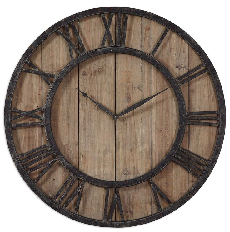Add a warm, rustic, and cozy feel to your space with the Powell Wooden Wall Clock. Complete with aged wood panels, accented Roman numerals with rustic dark bronze metal details, gold highlights, and q