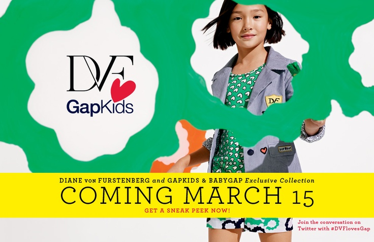 Diane von Furstenberg's kids and baby line launches tomorrow and you're invited! Baby Gap/Gap Kids at the St. John's Towncenter, will be opening at 8am to celebrate the new designer line! Stop by to receive a coupon for 30% off one regular price item at the Gap Adult store! See you bright and early at 8!! :)