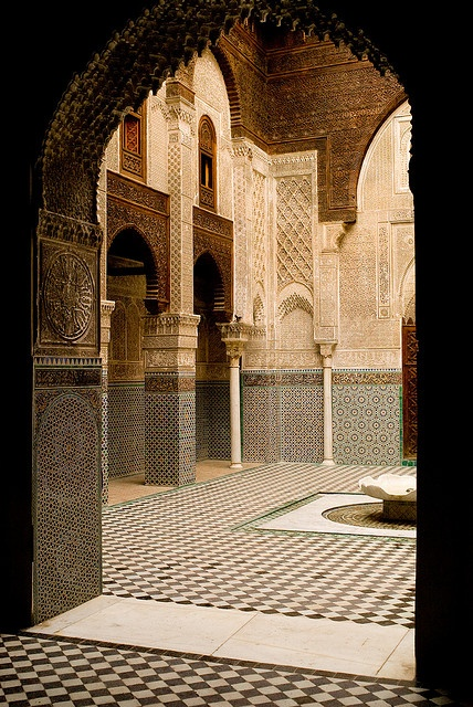 Medersa el-Attarine.  Widely considered to be the most beautifully decorated medersa in Fes.  Built in 1325 and still serves religious students today.  Fes, MOROCCO.    (by QXZ, via Flickr)
