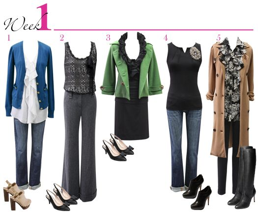 30 different outfits with only 15 items.  Week 1 pictured here.  cabicanary.com for more ideas...