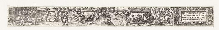 Anonymous   Mei, Anonymous, 1584   Uit een serie van twaalf prenten, de verbeelding van de maand April. Links een groep mensen aan het eten aan een tafel in de openlucht, in het midden musicerende mensen, twee verliefde paartjes, en mensen in bootjes op het water. Rechts het sterrenbeeld tweelingen en een cartouche met de tekst: Ich bin der Mey, schön wolgestalt, Bring Freud und Wonne mannigfalt.