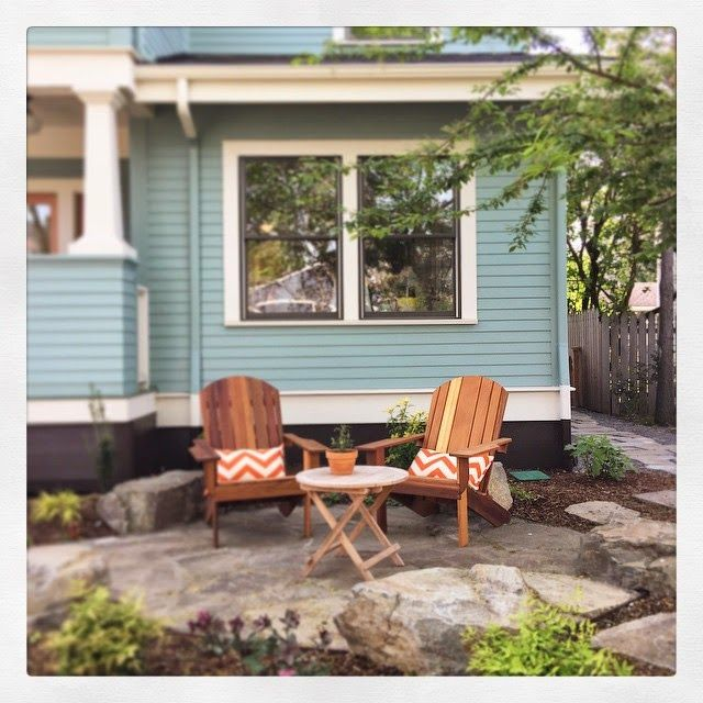 You guys! This space has been vacant since we created this little area in our front yard last fall. Finally got around to getting some Adirondack chairs (made by a guy in our hood) and I'm LOVING this. Paired with some sunshine and some tea? Well, sounds like heaven. Come sit with me and watch the world go by.