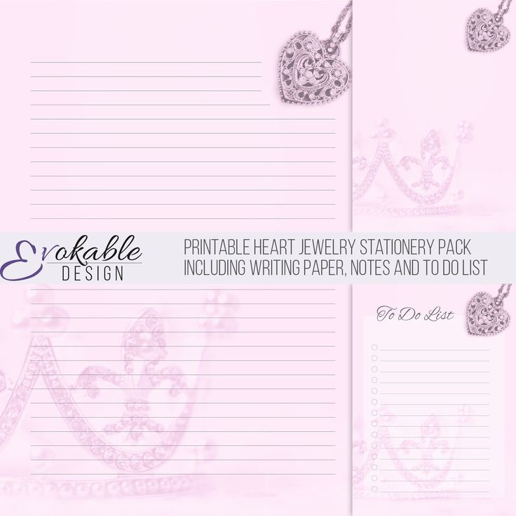 Printable Heart Jewelry Stationery Pack including Writing Paper, Notes and To Do List by EvokableDesign on Etsy