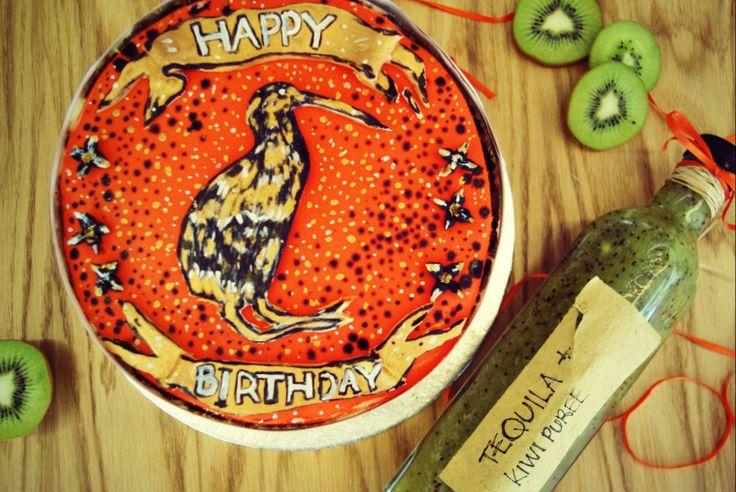 A Kiwi Cake for a Kiwi  Dark salted chocolate lemon chiffon cream with Kiwi fruit and Tequila Puree for cake or glass....Happy Birthday Karl.