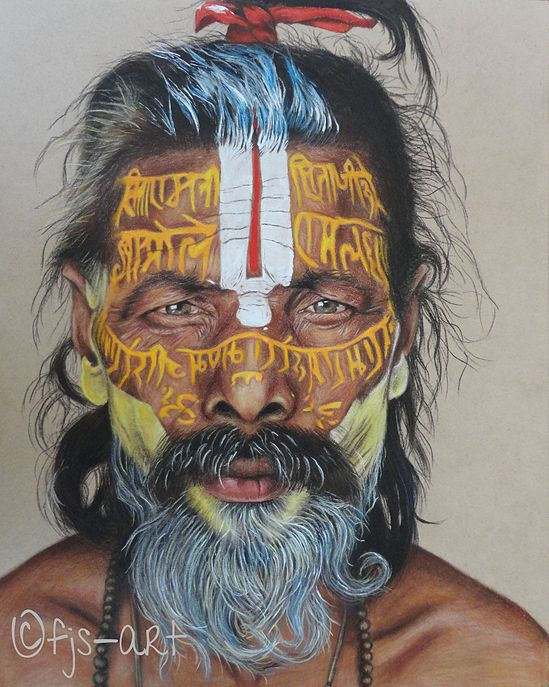 "NZ/NL Artist: FJS-Art - Pencil drawing on hardboard- ""sadhus"" - Faces of the world - holyman -  homedecoration - wallART - how to inspire - www.fjs-art.com #NZ #NL #Artist #FJSart - #pencildrawing #drawing on #paper #india #paintedface #Facesoftheworld - #homedecoration #eyes #inspire #wallART #art portrait"