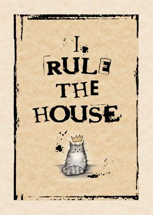 Cat card I rule the house GREY by MADOLDCATLADY on Etsy                                                                                                                                                      More