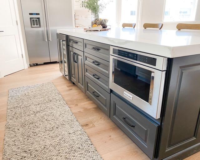 Microwave drawer in dark gray island   Distressed kitchen ...