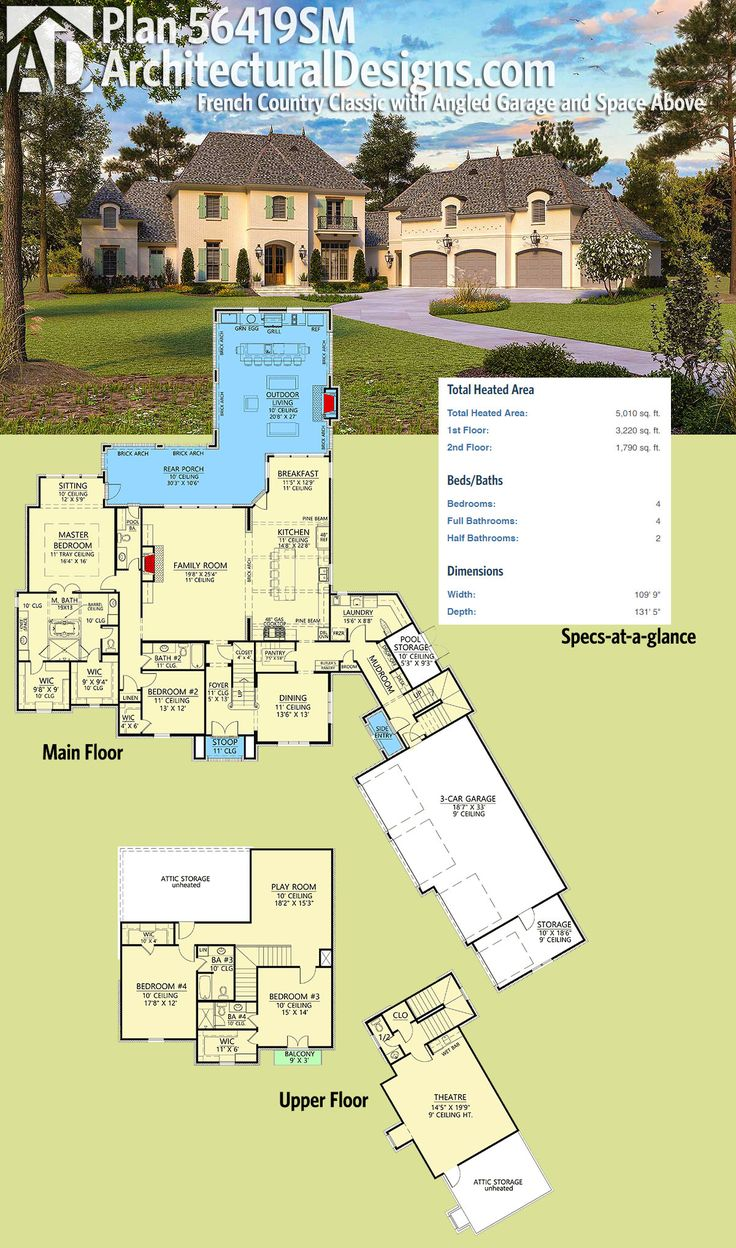 Architectural Designs House Plan 56419SM has a classic French Country exterior and a 3-car garage with useable space above. The home gives you over 5,000 square feet of heated living space and 4 bedrooms. Ready when you are. Where do YOU want to build?