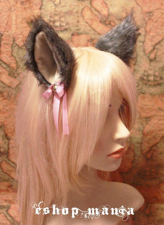 GREY black white mix inner khaki Beige 9 cm Kitty Cat Ear FOX WOLF ear Hair Clip Bell set Cosplay Costumes Party