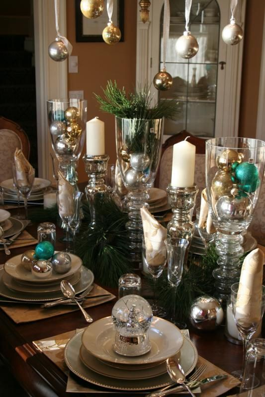 Dining Room Table Holiday TablescapeChristmas DecorationsChristmas