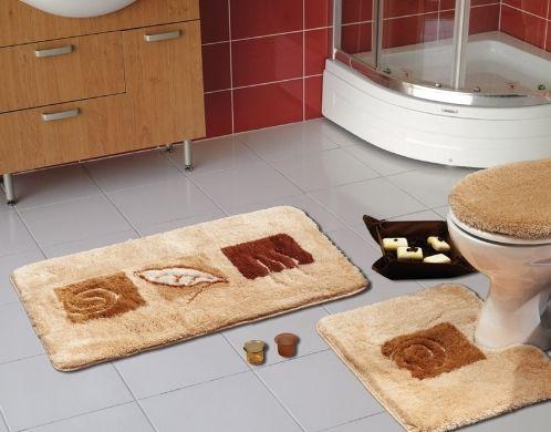 Deve tüyü kahve ve koyu kahverengi yaprak desenli  banyo paspas modeli
