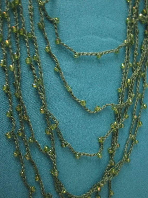 BEADED CROCHET NECKLACE  Clear Green Beads by QuackyQuilts on Etsy