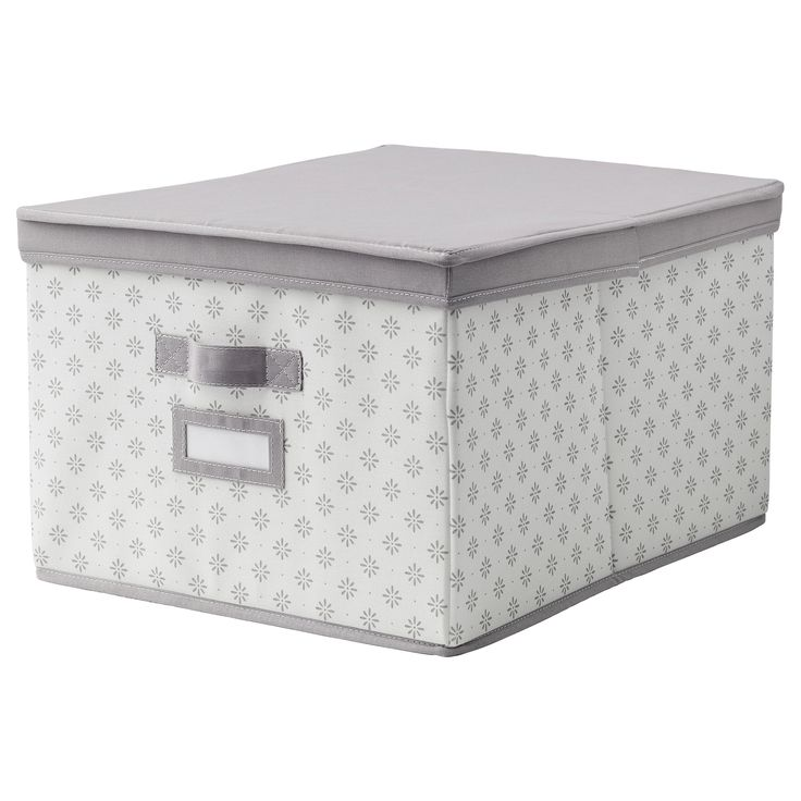 IKEA - SVIRA, Kasten mit Deckel, grau/weiß Blumen, 39x48x28 cm, , Lässt sich durch Griffe an beiden Seiten leicht herausziehen.Der Etikettenhalter hilft beim Ordnen, Suchen und Finden.