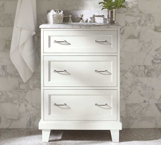 Website With Photo Gallery Modular Classic Single Mini Sink Console with Drawers u Straight Legs White with White Marble
