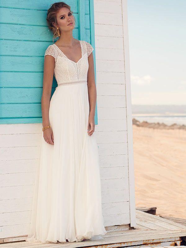 Spitzenbesetztes Brautkleid im Vintage-Stil mit fließendem Rock, tiefem V-Neck