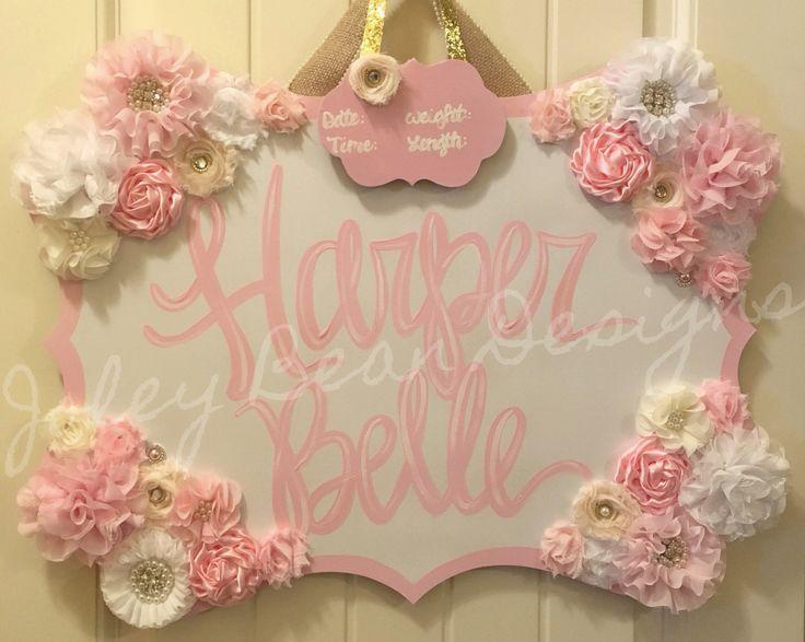 Joley Bean Designs, baby girl nursery, hospital door hanger, floral, pink, white, gold, cream