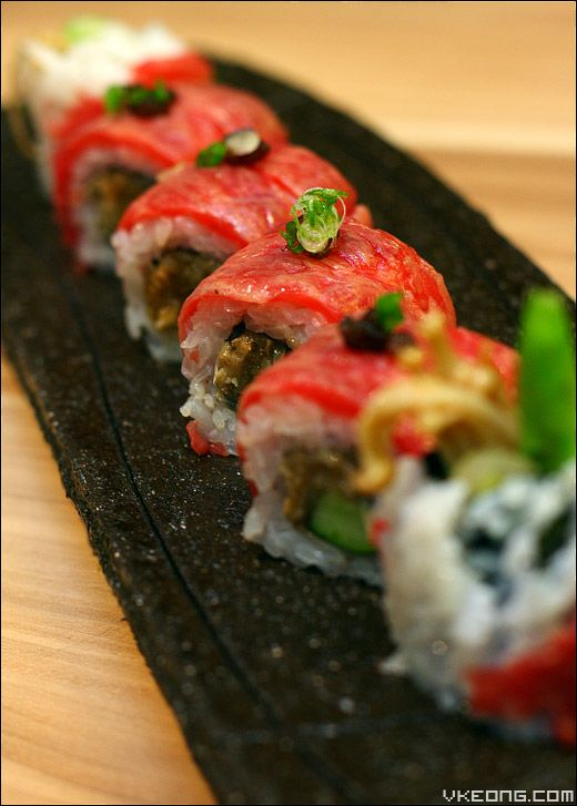 Wagyu Maki. Look at the enticing slices of well-marbled Wagyu beef, simply irresistable!