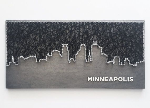 Custom-made 12 x 24 inch city skyline string art with wooden lettering. Not your city? No problem - just let us know what city you would like. Choose paint or stain color, string color(s), and font. Possibilities are endless, please feel free to contact us to help create the perfect item for you. Dont see the perfect color, send us a message, we might be able to help! Please indicate choices for stain color, font, and string color(s) in your order. Can be created in other sizes - please…
