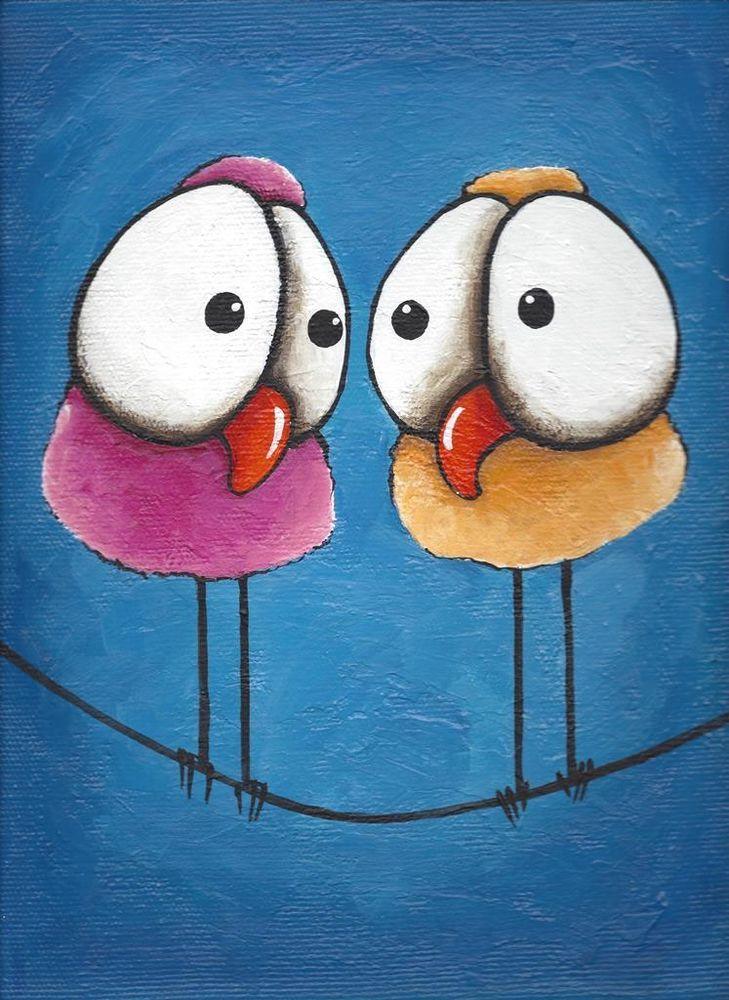 Original acrylic painting canvas whimsical art yellow pink twittering bird wire #Illustration Art $35.00