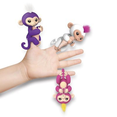 Fingerlings Baby Monkeys from WowWee hang onto your finger and know when they''re being touched and spoken to, and even hung upside down. They come to life with 40 ways to play and 50 sounds to let you know how they are feeling. They make realistic monkey soundsand have blinking eyes and a curly hanging tail. Six different Fingerlings to share and collect. For ages 4 and older. $14.99, available summer 2017.