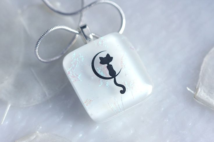 Cat in the Moon Dichroic Fused Glass Pendant Jewelry Necklace Fused Glass 01179 by GetGlassy on Etsy