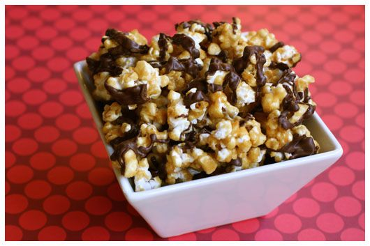 Oven baked caramel corn with chocolate drizzle - this holiday season enjoy this delicious addictive treat. Give it as a gift to your family or neighbors. They will LOVE you. Attach a copy of the recipe for the girls group too.