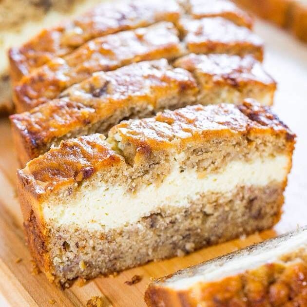 Banana bread with cream filling.  Recipe: http://www.averiecooks.com/2014/07/cream-cheese-filled-banana-bread.html